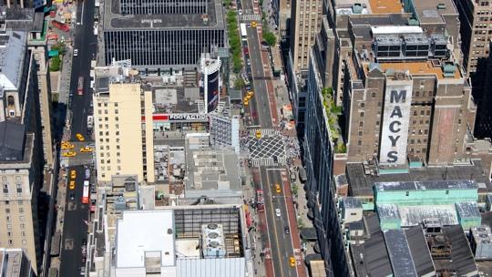 Blick auf die Straßen New Yorks, vom Empire State Building aus.
