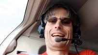 Michael Reimann im Helikopter.